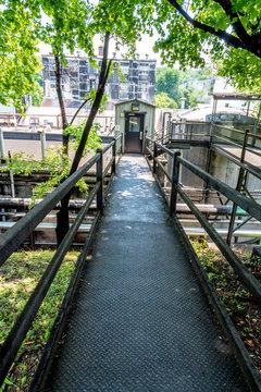 Walkway bridge in an industrial area of a plant