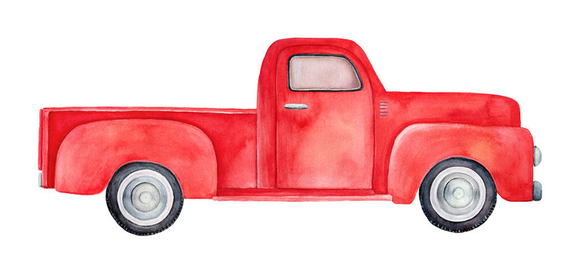 Side view of red retro pick-up truck. Hand drawn water color graphic painting with beautiful colour gradient on white backdrop, cutout art element for design, decoration, greeting cards, invitations.