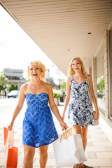 Two sisters out shopping together