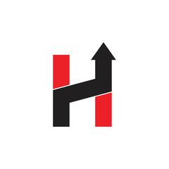 letter h geometric arrow up logo