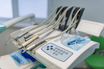 Professional Dentist tools in the dental office. Dental Hygiene and Health conceptual