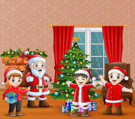 Santa claus and kids celebration a christmas in the home