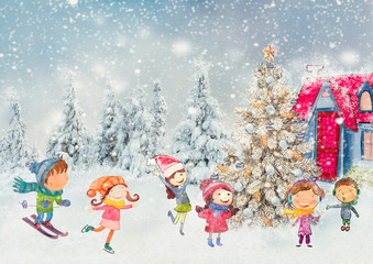 Christmas background with children. Watercolor.