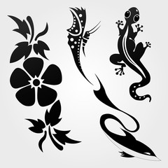Flora and fauna pattern tribal set tattoo.
