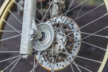 自転車の車輪 クローズアップ