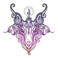 Pentagram in the head of demon Baphomet. Satanic goat head. Binary satanic symbol.
