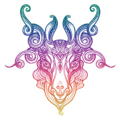 Mystic ram Aries. Beautiful line art zodiac symbol