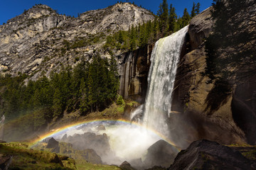 Panoramic view of Vernal Falls with double rainbow in early summer, Yosemite National Park, California