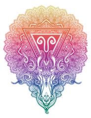 Mystic ram Aries. Beautiful line art zodiac symbol