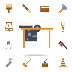 color Circular saw table icon. Detailed set of color construction tools. Premium graphic design. One of the collection icons for websites, web design, mobile app
