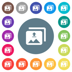 Upload multiple images flat white icons on round color backgrounds