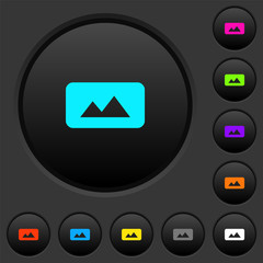 Panorama picture dark push buttons with color icons