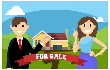 flat illustration of home marketing, vector illustration