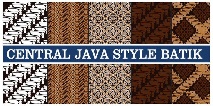 illustration of various types of batik in indonesian java, vector illustration
