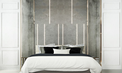 The interior design idea of luxury bedroom and white wall pattern background