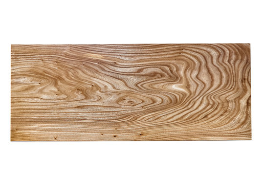 Slab table top of elm isolated on white background. Woodworking and carpentry production.