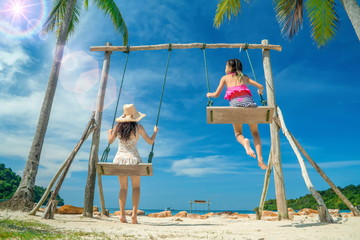 Sea in summer.Swing on the beach.Relaxing on the beach.Beautiful beach of thailand.