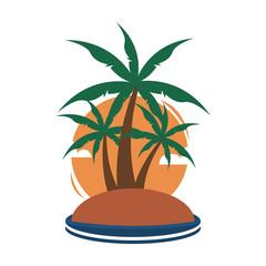 Small Island Tropical Palm Trees Travel Island Illustration