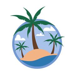 Circular Palm Trees Beach Tropical Island Travel Island Illustration