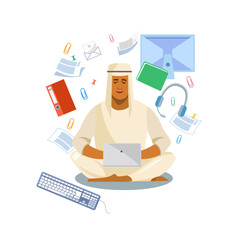 Arabian Man Distance Working with Laptop Vector