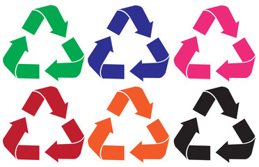 Set of recycle logo different color