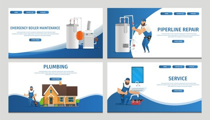 Vector Illustration Concept Page Plumber Service
