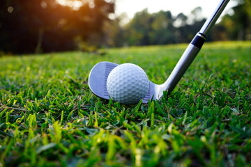 Golf ball and golf club in beautiful golf course at Thailand. Collection of golf equipment resting on green grass with green background