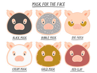 Set mask face beauty animal pig girl and women. Skin spa procedure, cosmetic clean. Head full face, cartoon style.