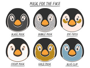 Set mask face beauty animal penguin girl and women. Skin spa procedure, cosmetic clean. Head full face, cartoon style.