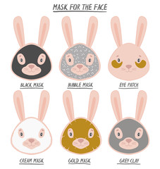 Set mask face beauty animal hare girl and women. Skin spa procedure, cosmetic clean. Head full face, cartoon style.