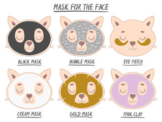 Set mask face beauty animal cat girl and women. Skin spa procedure, cosmetic clean. Head full face, cartoon style.