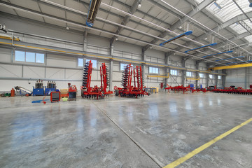 Factory assembly shop. Manufacture of agricultural machinery