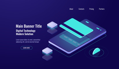 Online banking, payment mobile phone, isometric icon, credit card, money transfer concept, dark neon