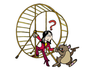 Woman getting out of the hamster wheel - Ji