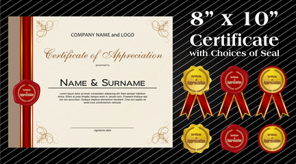 8 x 10 size Certificate of Appreciation with laurel wreath wax seal and ribbon
