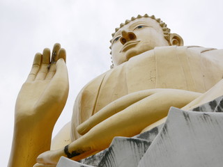 Huge beautiful golden Buddha image / statue - visitor's point of view