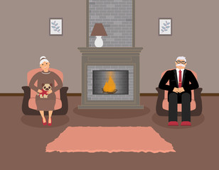 Couple elderly people is sitting by the fireplace in a beautiful cozy living room in brown and peach tones.Woman with a cute pug on her knees,a man in a suit sitting in a armchair.Vector illustration