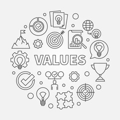 Values vector round concept minimal outline illustration