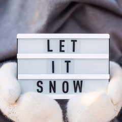 Let it snow it is written on a decorative lamp held by a woman in a gray scarf and white mittens