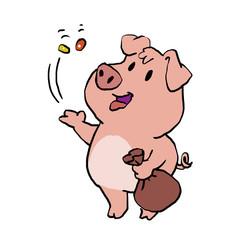 Cute pig eating sweets
