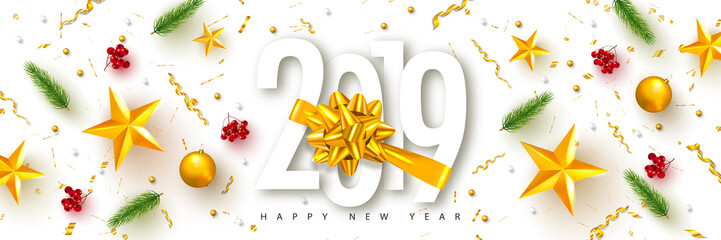 2019 Happy New Year. Universal vector background with Golden bow,fir branches, Rowan, stars and serpentine. Suitable for promotional materials, postcards,posters banners, flyers. Modern design.