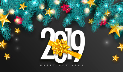 2019 Happy New Year. Universal vector background with Golden bow,fir branches, Rowan, stars and garland. Suitable for promotional materials, postcards,posters banners, flyers. Modern design.