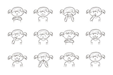 Collection of 12 Collection of 12 illustrations of little girl showing different emotions of girl showing different emotions