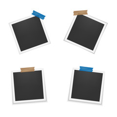 Set of blank photo frames with shadow. Photo frames with adhesive tape. Empty template for photography and picture. Realistic blank instant photo card.