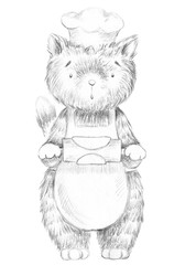 Cartoon cook cat is trying to roll out the dough with a rolling pin isolated on white background. Lead pencil graphic hand drawn illustration