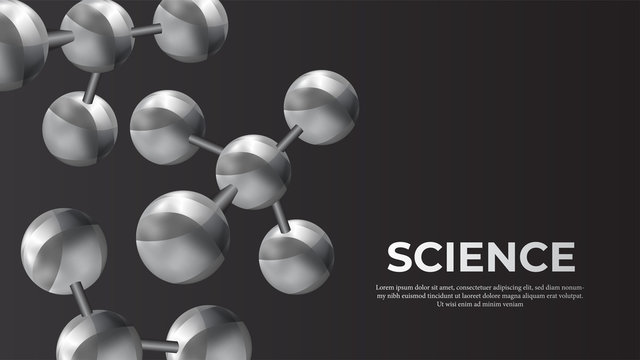 3d sphere metal ball atomic structure molecule for science banner. Vector illustration