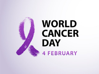 World cancer day 4 february text with violet ribbon symbol. Vector illustration concept for world cancer day