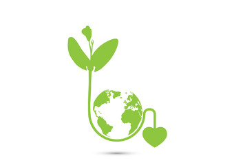 Green sprout seedling with heart shaped root around globe, environmental concept vector illustration