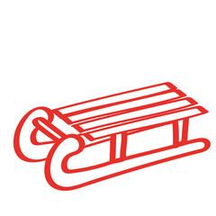 Handgezeichneter Schlitten in rot