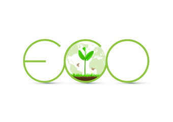 Green Eco sprout with globe icon vector illustration